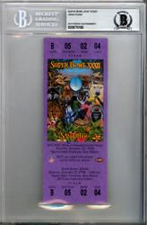John Elway Autographed SB XXXII Purple Ticket Denver Broncos Beckett BAS #9770190