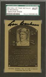 Lou Boudreau Autographed 1989 HOF Metallic Plaque Card Cleveland Indians JSA #B15230