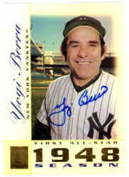 Yogi Berra Autographed 2003 Topps Tribute Card #45 New York Yankees Steiner SKU #126146