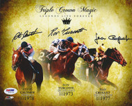 Triple Crown Winning Jockeys Autographed 8x10 Photo With 3 Signatures Including Ron Turcotte, Steve Cauthen & Jean Cruguet PSA/DNA Stock #61697