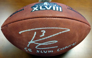"Russell Wilson Autographed Super Bowl Leather Football Seattle Seahawks ""SB XLVIII Champs"" RW Holo Stock #72353"