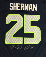 Seattle Seahawks Richard Sherman Autographed Blue Nike Twill Jersey Size L RS Holo Stock #94463