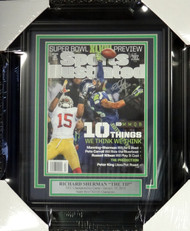 Richard Sherman Autographed Seattle Seahawks Framed Sports Illustrated Magazine The Tip RS Holo Stock #98099