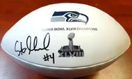 Steven Hauschka Autographed Super Bowl White Logo Football Seattle Seahawks MCS Holo Stock #98205