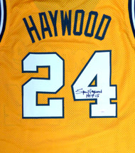 "Seattle Sonics Spencer Haywood Autographed Gold Jersey ""HOF 15"" MCS Holo Stock #104223"