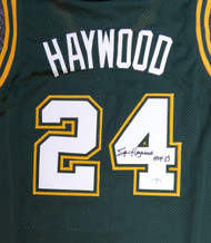 "Seattle Sonics Spencer Haywood Autographed Green Jersey ""HOF 15"" MCS Holo Stock #104224"
