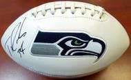 Thomas Rawls Autographed White Logo Football Seattle Seahawks MCS Holo Stock #105065