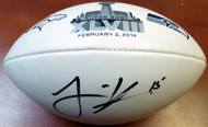 Jermaine Kearse Autographed White Super Bowl Logo Football Seattle Seahawks MCS Holo Stock #106260