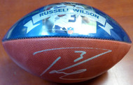 Russell Wilson Autographed 2015 Record Breaking Season Leather Football Seattle Seahawks RW Holo Stock #107493