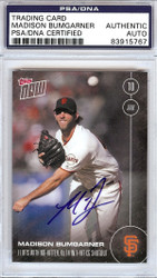 Madison Bumgarner Autographed 2016 Topps Now Card #240 San Francisco Giants PSA/DNA Stock #108022