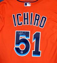 Miami Marlins Ichiro Suzuki Autographed Orange Majestic Authentic Flex Base Jersey Size 44 IS Holo Stock #111456