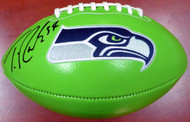 Thomas Rawls Autographed Green Seattle Seahawks Logo Football MCS Holo Stock #112680