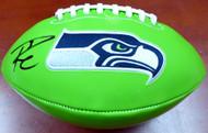 Russell Wilson Autographed Green Logo Football Seattle Seahawks RW Holo Stock #113614