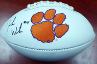 Deshaun Watson Autographed Clemson Tigers White Logo Football Beckett BAS Stock #113698