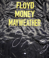 Floyd Mayweather Jr. Autographed Black Boxing Robe Beckett BAS Stock #121804