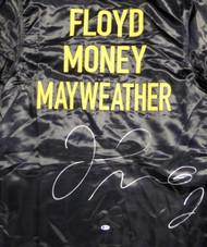 Floyd Mayweather Jr. Autographed Black Boxing Robe Beckett BAS Stock #121804