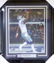 Dak Prescott Autographed Framed 16x20 Dallas Cowboys Beckett (BAS) Stock #123731