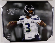 Russell Wilson Autographed Framed 24x30 Canvas Photo Seattle Seahawks Super Bowl XLVIII RW Holo Stock #125707