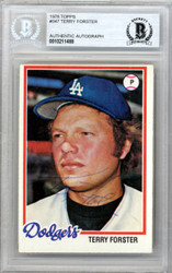 Terry Forster Autographed 1978 Topps Card #347 Los Angeles Dodgers Beckett BAS #10211488