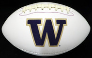 Unsigned Washington Huskies White Logo Football Stock #128888