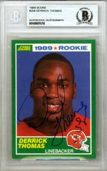 Derrick Thomas Autographed 1989 Score Rookie Card #258 Kansas City Chiefs Beckett BAS #10007578