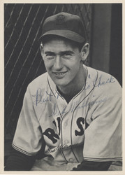 """Ted Williams Autographed 6.5x9 Photo Boston Red Sox """"To Chuck Best Wishes"""" Vintage Rookie Era Beckett BAS #A82684"""