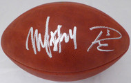 Russell Wilson & Marshawn Lynch Autographed NFL Leather Football Seattle Seahawks RW & ML Holo Stock #130463