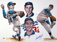 Sandy Koufax Autographed 18x24 Lithograph Los Angeles Dodgers Beckett BAS Stock #135227