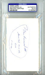 "Muhammad Ali Autographed 3x5 Index Card ""Serve God He Is The Goal 1-13-90"" Vintage PSA/DNA #81965696"