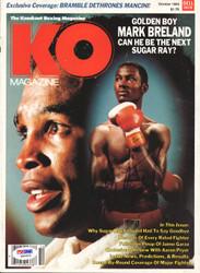 Sugar Ray Leonard & Mark Breland Autographed KO Boxing Magazine Cover PSA/DNA #Q95624