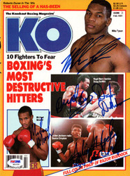 Boxing Greats Autographed KO Boxing Magazine Cover Including Tyson PSA/DNA #S01530