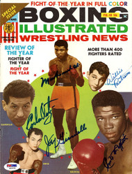Muhammad Ali, Emile Griffith, Joey Giardello, Willie Pastrano & Carlos Ortiz Autographed Boxing Illustrated Magazine Cover PSA/DNA #S01570