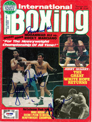 Muhammad Ali, Jerry Quarry & Mike Rossman Autographed International Boxing Magazine Cover PSA/DNA #S01599