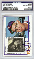 Bill Hunter Autographed 1978 Topps Card #548 Texas Rangers PSA/DNA #83308792