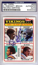Ahmad Rashad & Ted Brown Autographed 1981 Topps Card #432 Minnesota Vikings PSA/DNA #83364032