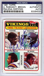 Ahmad Rashad & Ted Brown Autographed 1981 Topps Card #432 Minnesota Vikings PSA/DNA #83364033