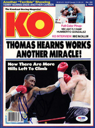 """Thomas """"Hit Man"""" Hearns Autographed KO Boxing Magazine Cover PSA/DNA #S42527"""