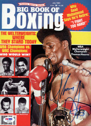 """Thomas """"Hit Man"""" Hearns Autographed Big Book Of Boxing Magazine Cover PSA/DNA #S42536"""