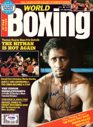 """Thomas """"Hit Man"""" Hearns Autographed Boxing World Magazine Cover PSA/DNA #S42542"""