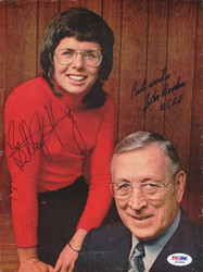 Billy Jean King & John Wooden Autographed Magazine Page Photo PSA/DNA #S43888