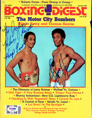 "Thomas ""Hit Man"" Hearns & Hilmer Kenty Autographed Boxing Digest Magazine Cover ""To John"" PSA/DNA #S47592"