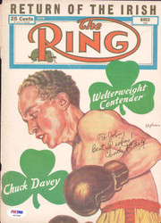 Chuck Davey Autographed The Ring Magazine Cover PSA/DNA #S47095