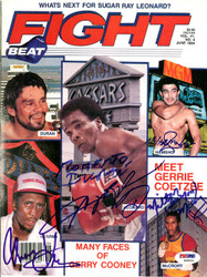 Roberto Duran, Sugar Ray Leonard, Thomas Hearns, Milton McCrory & Mustafa Hamsho Autographed Fight Beat Magazine Cover PSA/DNA #S00444