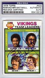 Ahmad Rashad, Bobby Bryant & Mark Mullaney Autographed 1979 Topps Card #432 Minnesota Vikings PSA/DNA #83410019