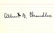 AB Happy Chandler Autographed 3x5 Index Card JSA #I49777
