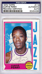 Curtis Perry Autographed 1974 Topps Card #119 New Orleans Jazz PSA/DNA #83454295