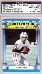 Drew Hill Autographed 1987 Topps 1000 Yard Club Card #16 Houston Oilers PSA/DNA #83461345