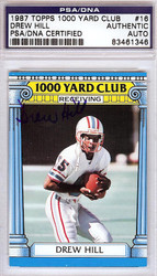 Drew Hill Autographed 1987 Topps 1000 Yard Club Card #16 Houston Oilers PSA/DNA #83461346