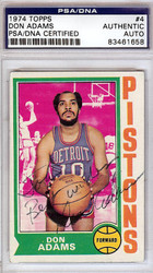 "Don Adams Autographed 1974 Topps Card #4 Detroit Pistons ""To John"" PSA/DNA #83461658"