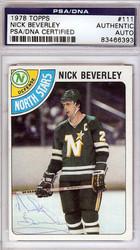 Nick Beverley Autographed 1978 Topps Card #111 Minnesota North Stars PSA/DNA #83466393
